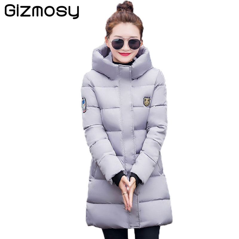 Gizmosy 2016 New Long Winter Jacket Women Slim Female Coat Thicken Parka Down Cotton Clothing Hooded Jackets Student SY020-1 new style women white down jacket with hood slim long parka padding polyester fashion long jackets with belt cotton coat women