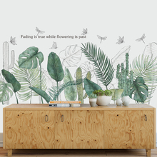 Nordic style Green Leaves Tropical Plants Wall Stickers Living room Bedroom Tv Sofa Vinyl Wall Decals
