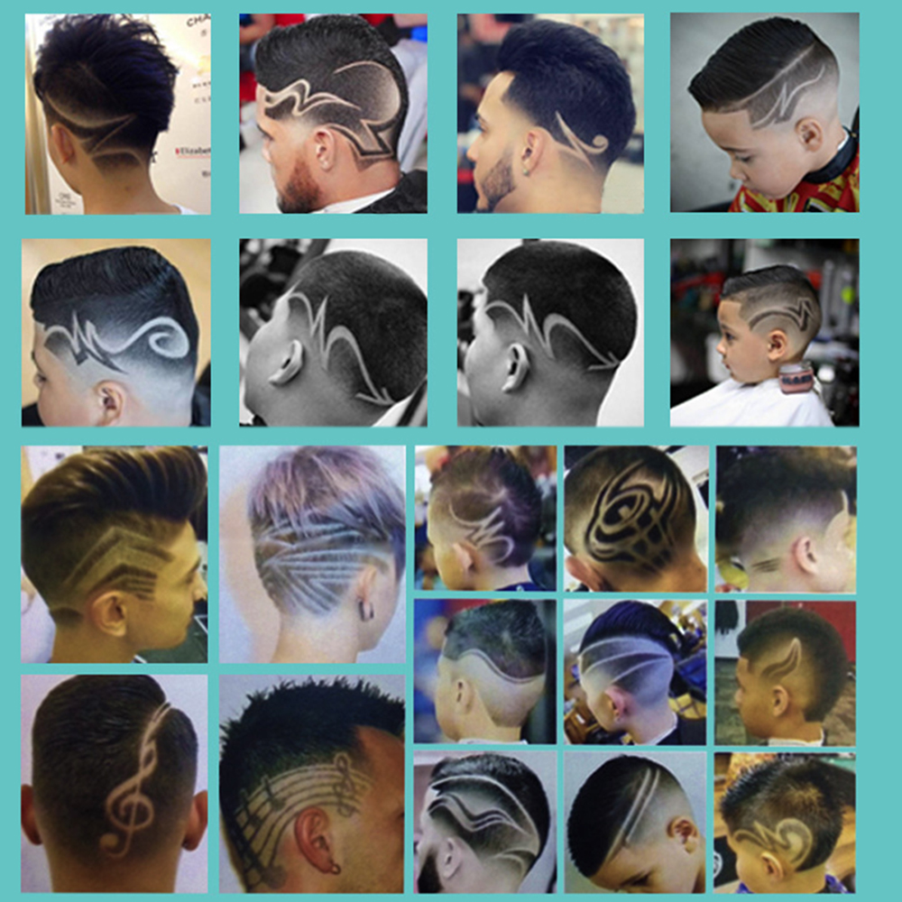 20pcs Hair Tattooing Engraving Template Hair Trimmer Carved Coloring Pattern Stencil Dye Coating Board Salon DIY Hairstyling