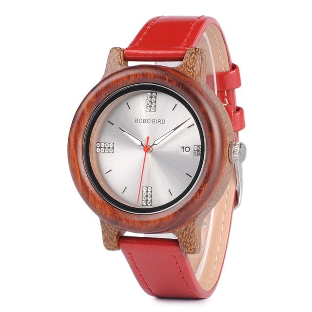 Reloj madera para mujer pulso cuero colores 2