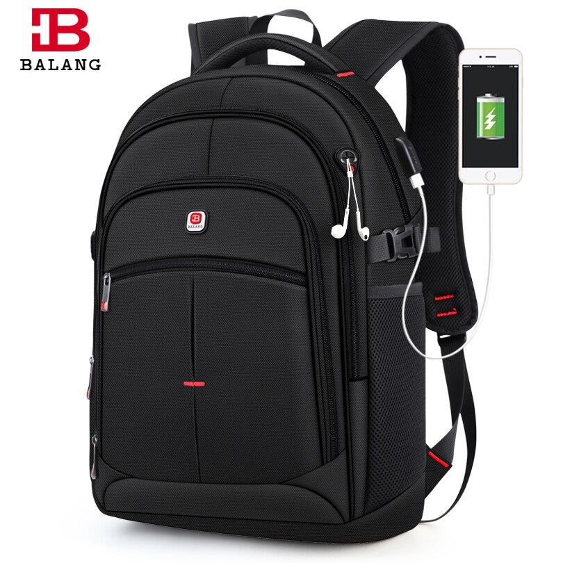 BALANG Brand 2019 New Men's Casual กระเป๋าเป้สะพายหลังกันน้ำ 15.6 นิ้วแล็ปท็อปกระเป๋าเป้สะพายหลัง USB กระเป๋าเป้สะพายหลังความจุขนาดใหญ่สำหรับชาย-ใน กระเป๋าเป้ จาก สัมภาระและกระเป๋า บน   1