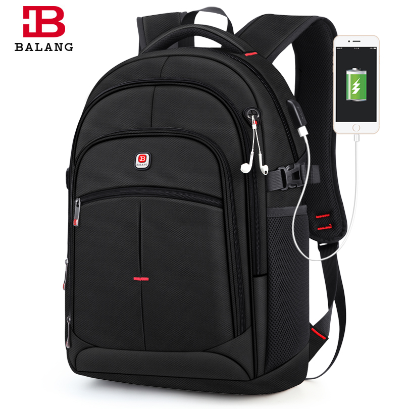 BALANG Brand 2019 New Men's Casual Backpacks Waterproof 15.6 Inch Laptop Backpack USB Large Capacity School Backpack For Boys