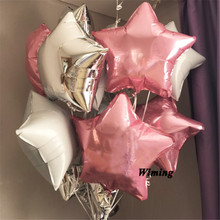 цена star balloons birthday party supplies green purple red gold silver pink blue helium foil star decoration birthday party balloons