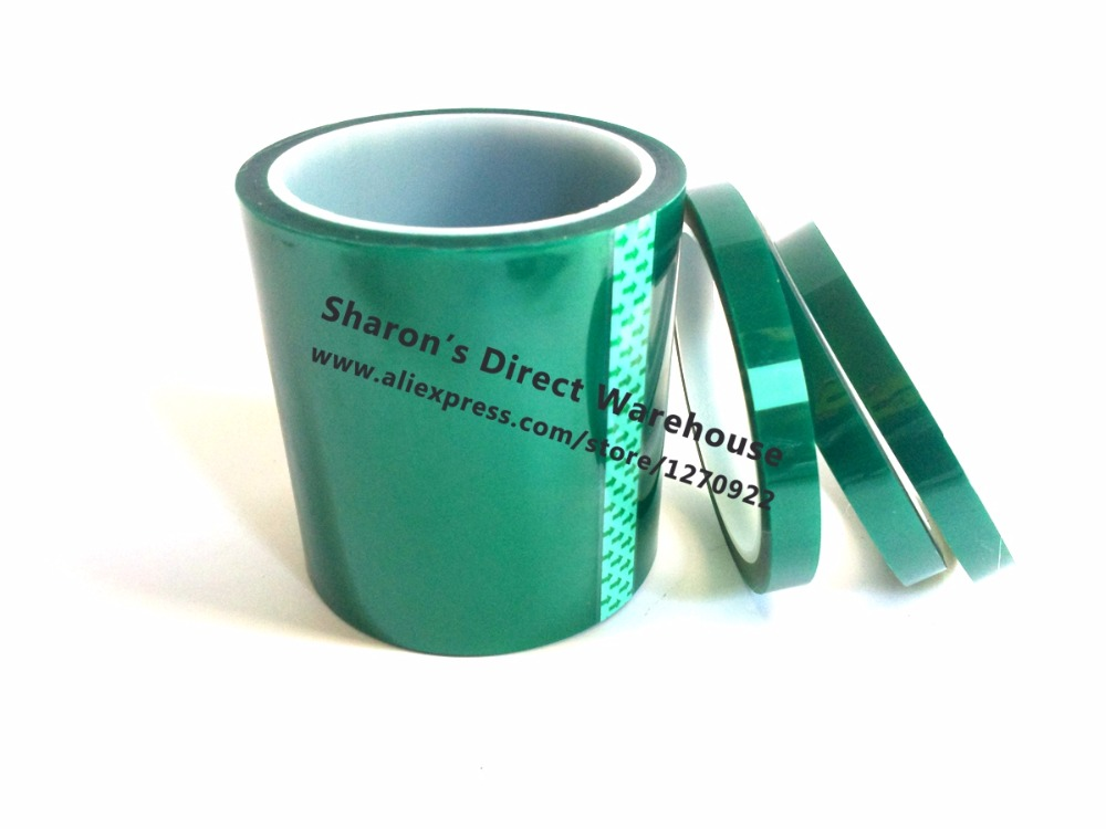 50mm*33 Meters*0.06mm Hi Temperature PET Film Green Adhesive Shielding Tape For PCB Solder Plating Coating Mask