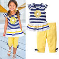 Drop shipping Girls Fashion floral summer casual suit children clothing set short sleeve outfit 2016 summer new kids clothes se