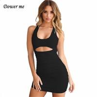 Dower me сексуальное однотонное летнее платье на бретелях без рукавов обтягивающее платье с узором и О-образным вырезом, платье по колено, белы...