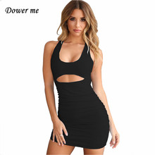 Dower me Sexy Summer dress Solid sleeveless Tank O-neck knee-length white Red Blue Black Hollow out women Bandage Y011