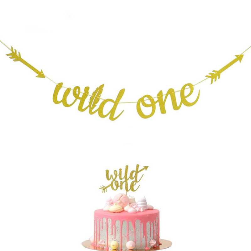 1 set Novelty new gold Glitter Wild One First Birthday boy girl banner and Cake Toppers baby shower party Decorations Supplies