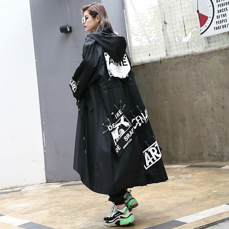 Women Oversized Pin Spliced Loose Fashion   Trench   Coat Female Streetwear Hip Hop Punk Gothic Casual Long Hooded Robe Windbreaker