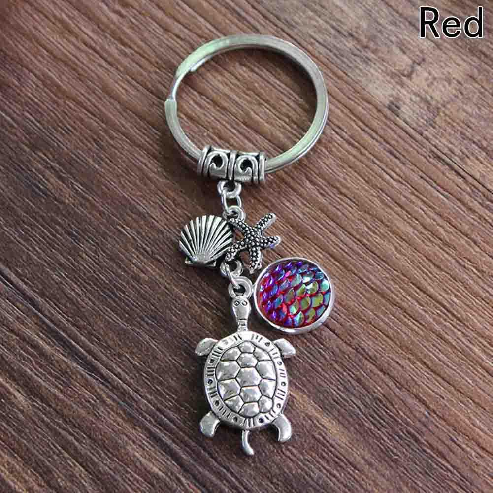 Mermaid Scale & Turtle Pendant Keychain