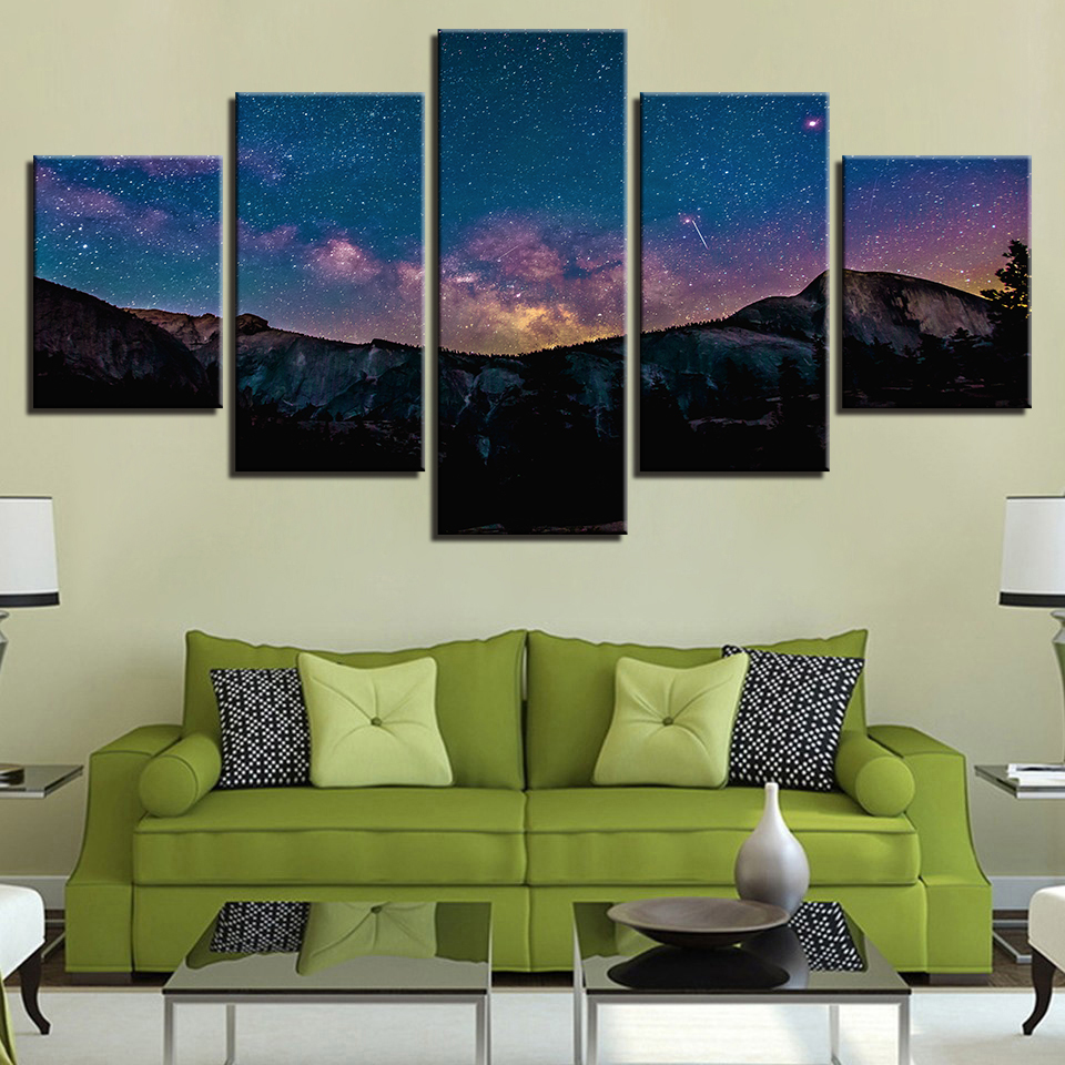 Canvas HD Print Poster Home Decor Pictures Frame 5 Pieces Mountain Forest Night Starry Sky Painting Modular Living Room Wall Art