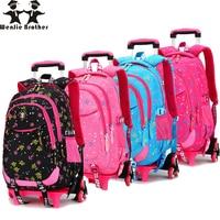 wenjie brother Kid's Travel Rolling luggage Bag School Trolley Backpack girls backpack On wheels Girl'sSchool wheeled Backpacks