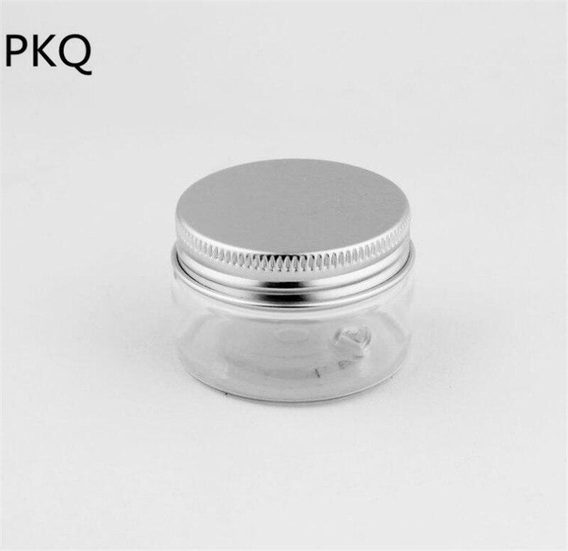 50pcs 30ml 40ml Transparent PET Powder Storage jar with aluminum small round clear pet jar for