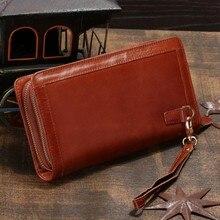 2016 Luxury Coffee Vintage Cowhide Men Clutch Bag Long Genuine Leather Handbags Men Wallets Double Layer Business Clutch bags