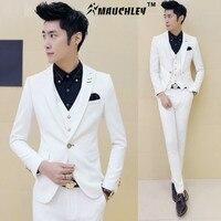 メンズオフ白タキシードでパンツ3ピース/セット(ジャケット+ベスト+パンツ)結婚式のスーツ韓国デザインスリムフィットドレス衣