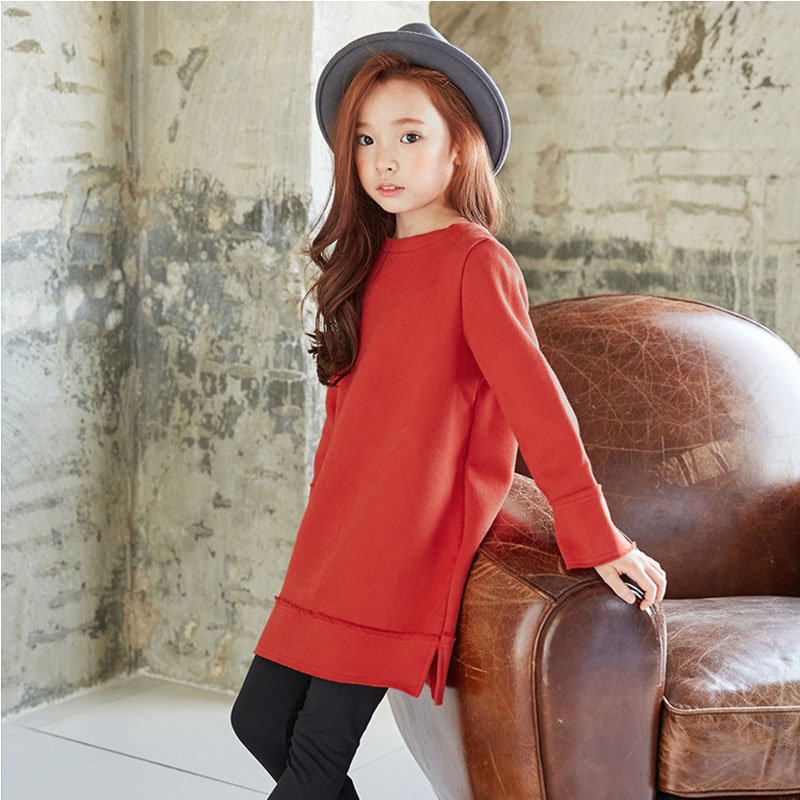 fleece sweatshirts kids school dress with bow teenage girls clothing winter autumn 2017 thick long sleeve girl dresses clothes