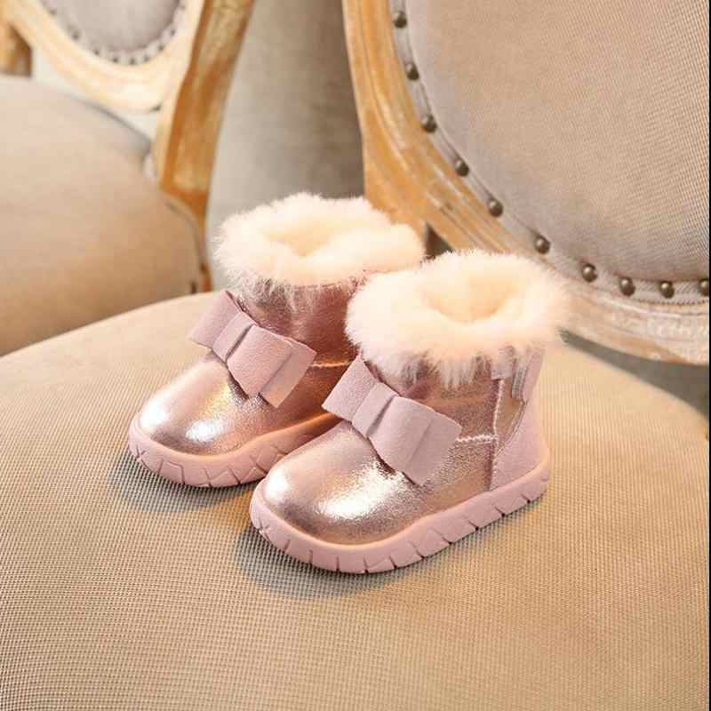 Winter Children Boots Sequins Leather Girls Snow Boots Baby Shoes Non-slip  Ankle Boots Fur 3a3c97b69d0e
