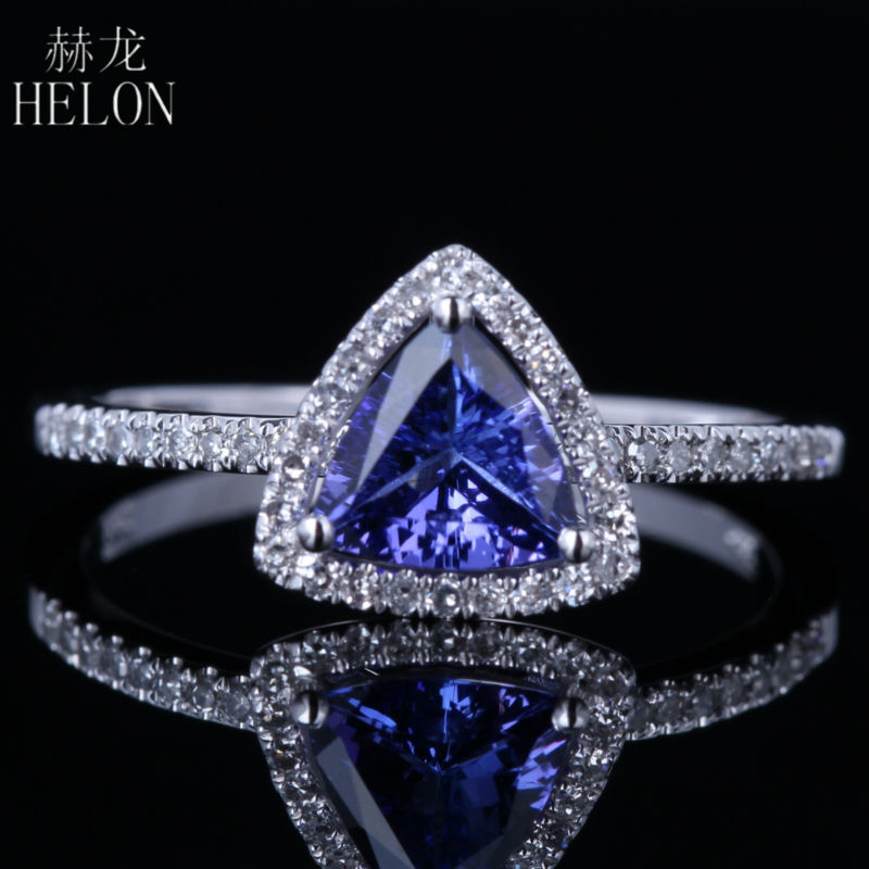HELON Engagement Wedding Women's Ring 6x6mm Trillion Shape 0.7ct Tanzanite & Pave 0.2ct Natural Diamonds Solid 14k White Gold
