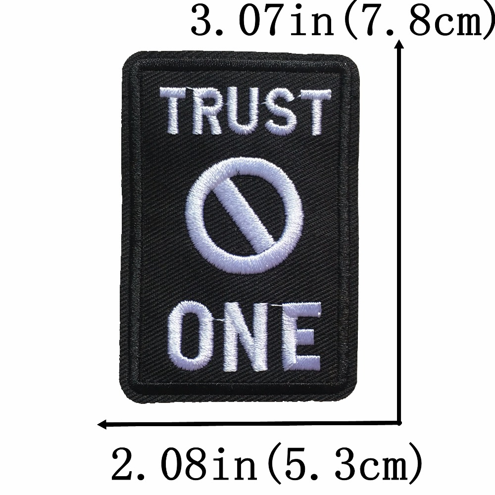 Trust No One Iron On Patches Embroidered Patches Badges appliqués