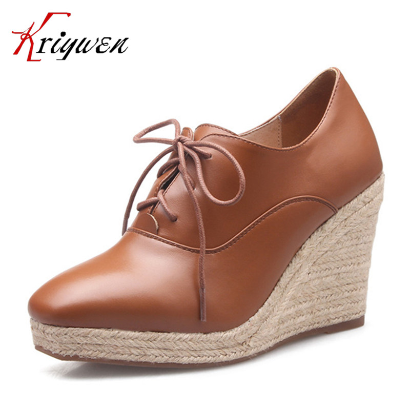 ФОТО White brown natural leather Women Pumps Platform Wedges high heels shoes lace up Leathe Shoes high quality Woman concise shoes