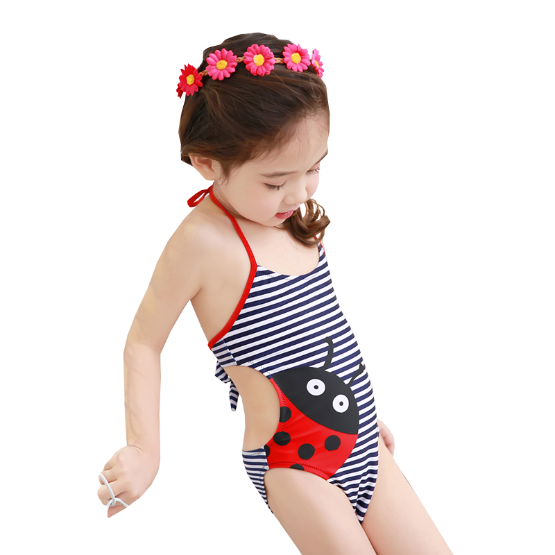 Maylife Baby Girls Toddler Kids One Pieces Swimsuits Yellow Duck Print Bathing Suits Hat