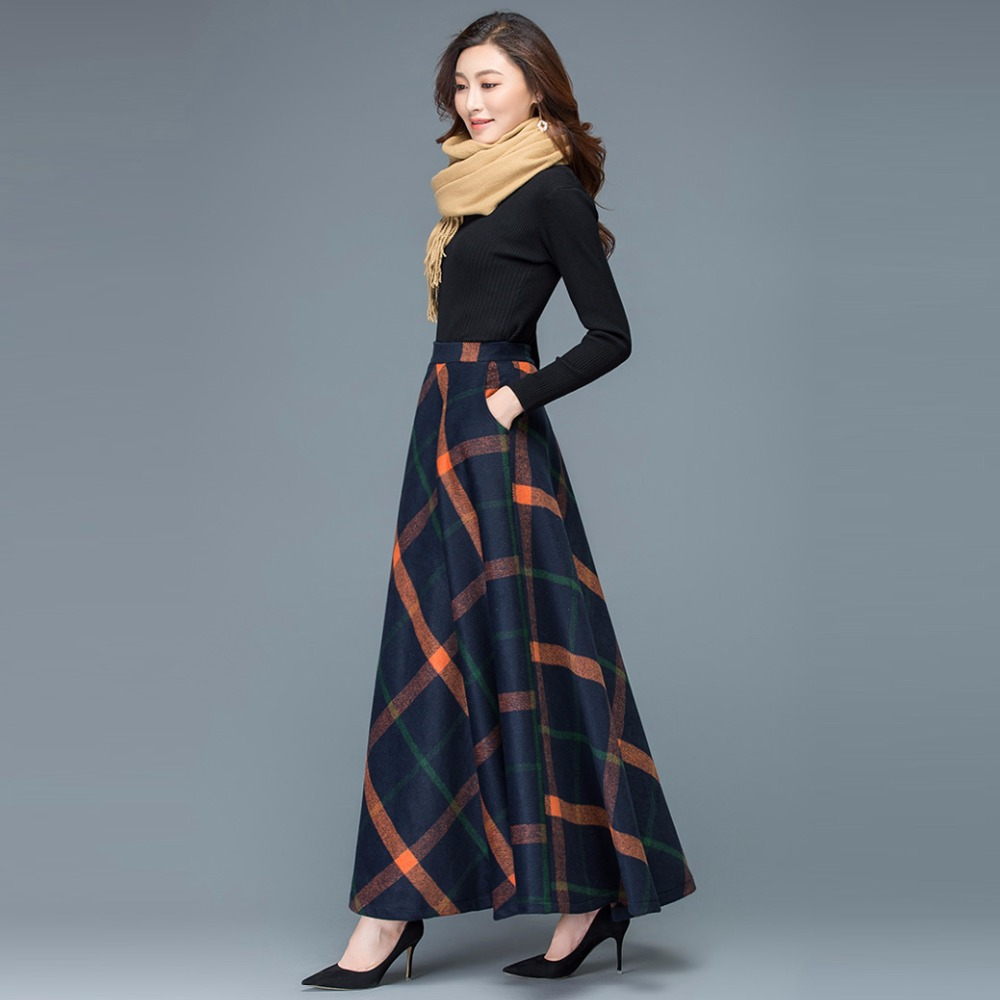 545692e3937ef8 femmes Hiver orange 6xl A Rayure Femmes Jupe Taille Jupes Longue ...