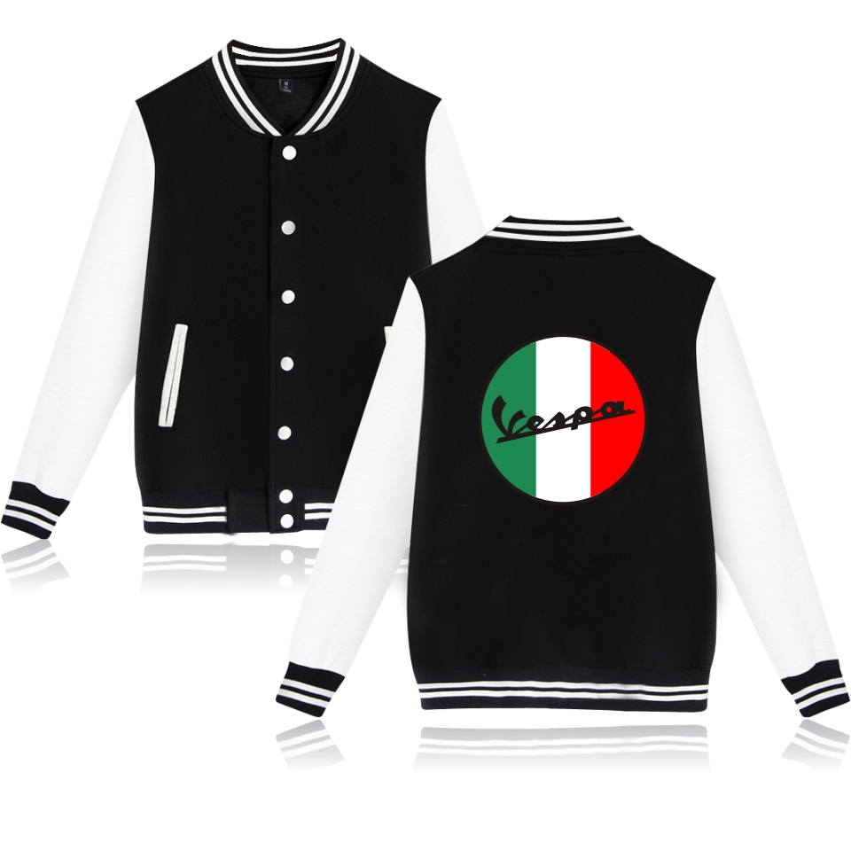 Vespa Jacket Baseball Jacket Sweatshirt Men Black Classic Capless Winter Hoodies Fashion Casual Jacket Clothe Autumn coat Vespa