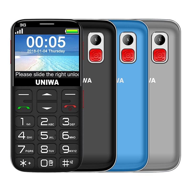 UNIWA V808G Mobile Phone 3G WCAMA SOS Button 1400mAh 2.31 Inch Screen Old Man Cellphone Flashlight Torch Cell Phone For Elderly-in Cellphones from Cellphones & Telecommunications    2