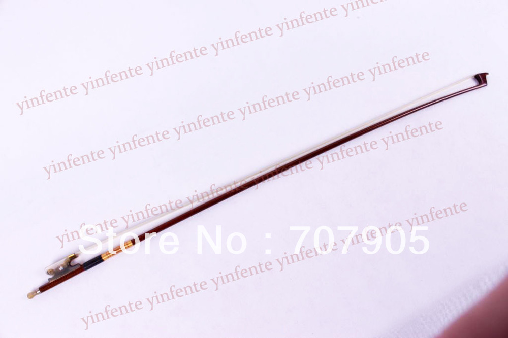 4/4 Violin Bow get quality Brazil wood Gold Color Bow string Snail Ox horn Frog 2 pcs quality brazil wood violin bow red ox frog 4 4 stallion bow hair