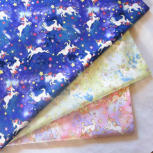 half meter Japanese gilt unicorn printed soft breeze 100% cotton fabric for mouth gold package handmade DIY B25