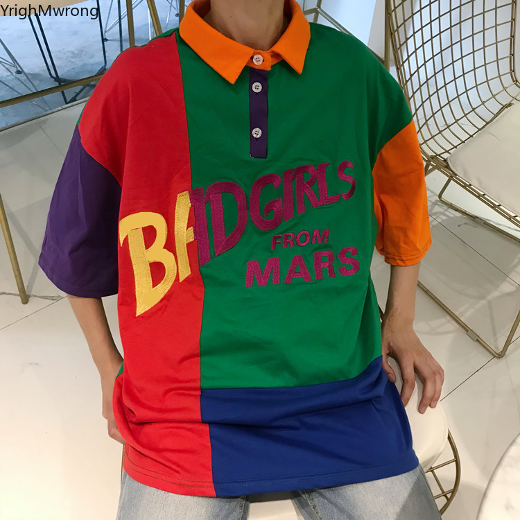 3a2020c89 Harajuku Streetwear Patchwork Block Color Bad Girl Funny Letter Print Hiphop  Tee T Shirt Korean Top Kpop Graphic Loose T shirt-in T-Shirts from Women's  ...