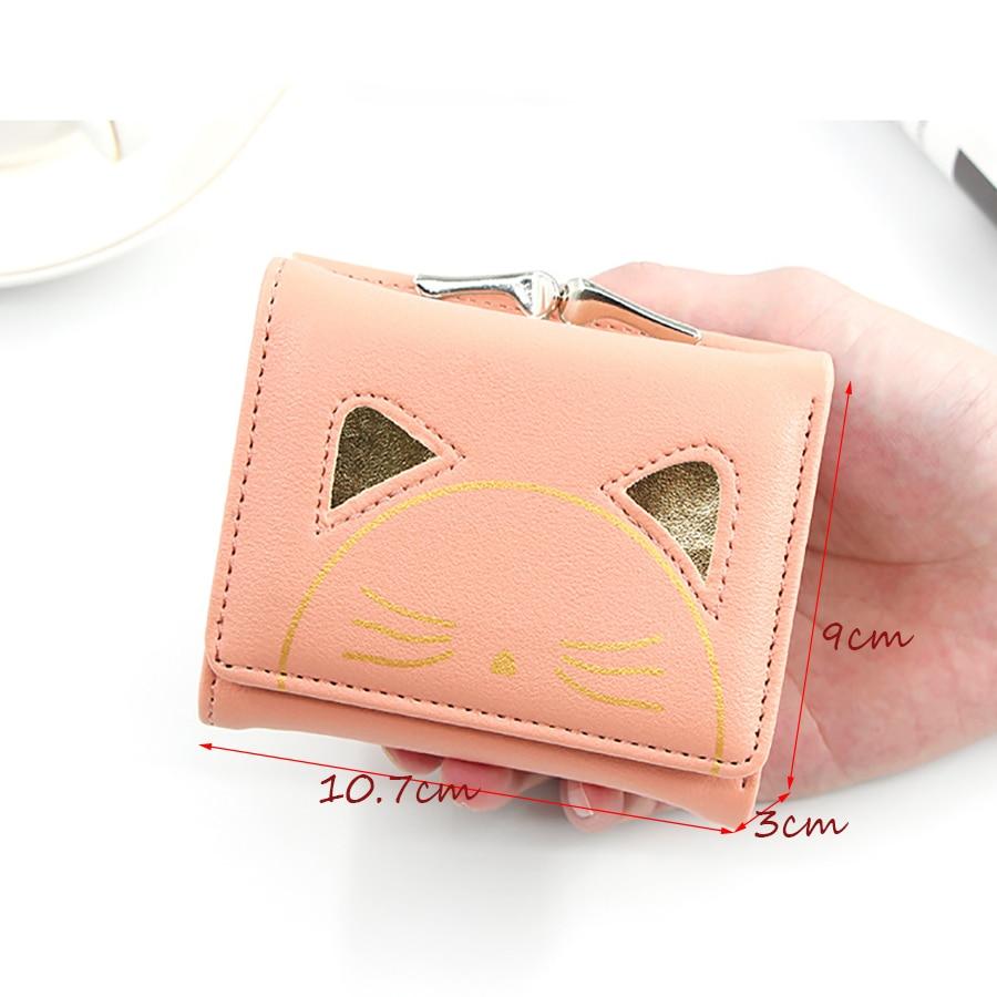 Women Cute Cat Wallet Change Folder Short Multi function Coin Purse Card Sets Pu Leather Women Coin Wallet Casual Money Bags New - 5