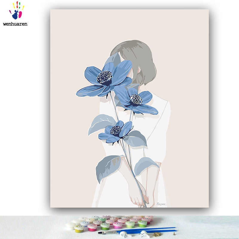 DIY colorings pictures by numbers with colors Wedding dress dress picture drawing painting by numbers framed Home