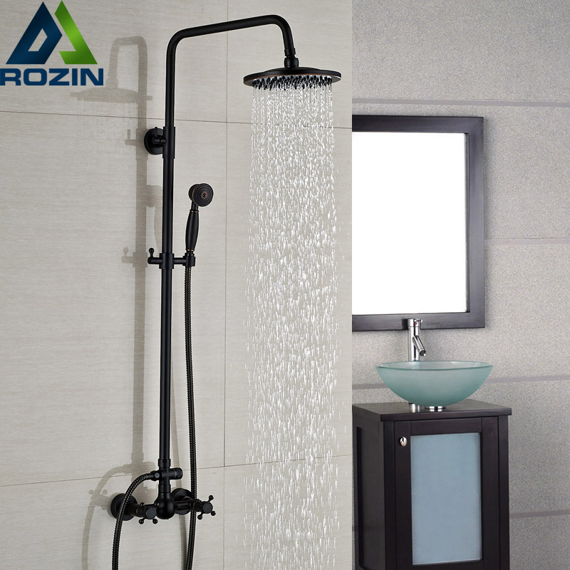 Luxury Bronze Black Bathroom Shower Bath Faucet Dual Handles In Wall Washing Room Shower Mixer Taps 8 Rain Shower Head