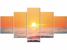 5 Pieces HD Wall Art Picture Gift Home Decoration Canvas Print painting beautiful sea sunset  Framed J009-001