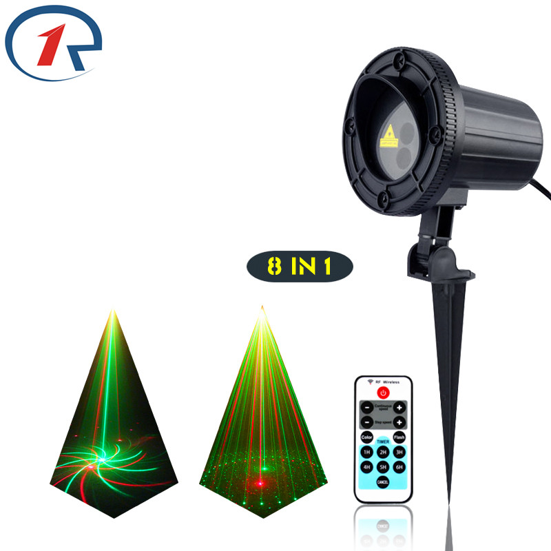 ZjRight IR Remote 8 patterns Red Green laser lights waterproof outdoor projection laser effect stage light bar dj disco lighting