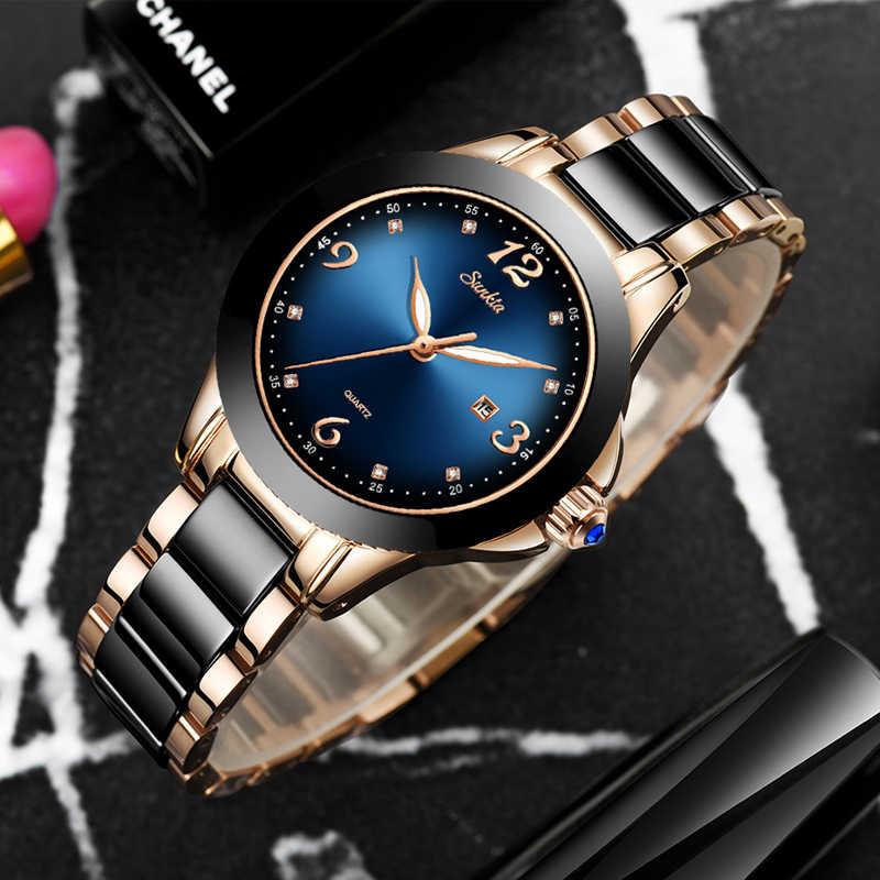 SUNKTA אופנה נשים שעונים רוז זהב גבירותיי צמיד שעונים Reloj Mujer 2019New Creative עמיד למים קוורץ שעונים לנשים