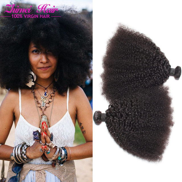 Promotion Peruvian Afro Kniky Natural Curly Hair Extensions Afro