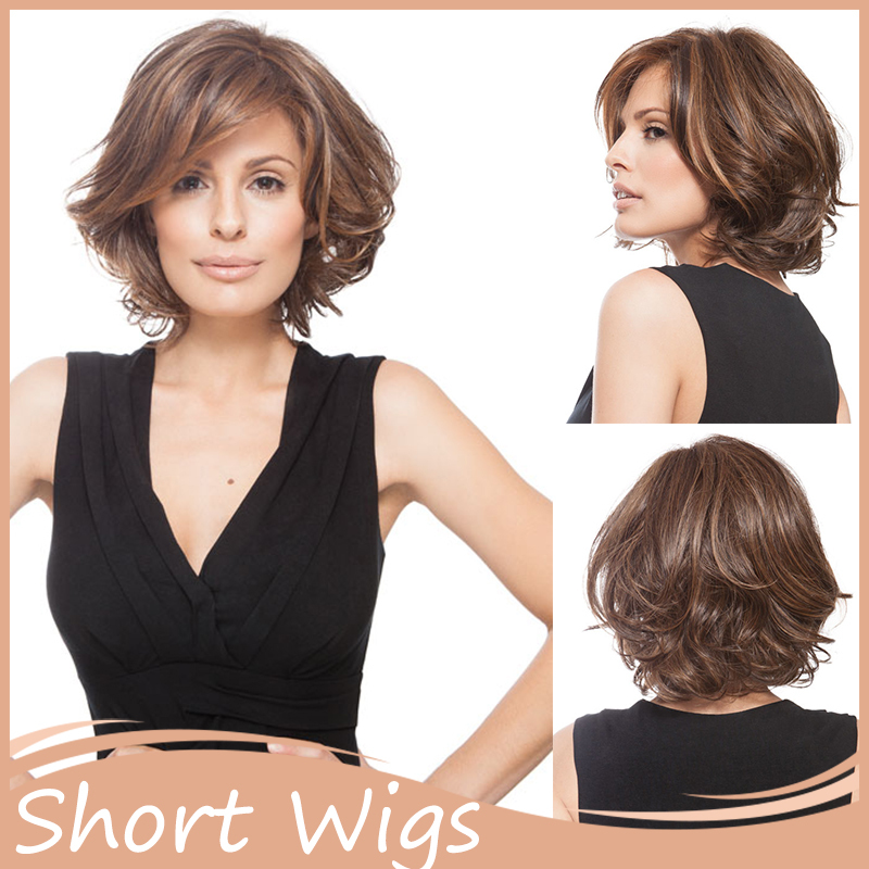 1pc African American Short Hairstyles Wigs Wavy Synthetic