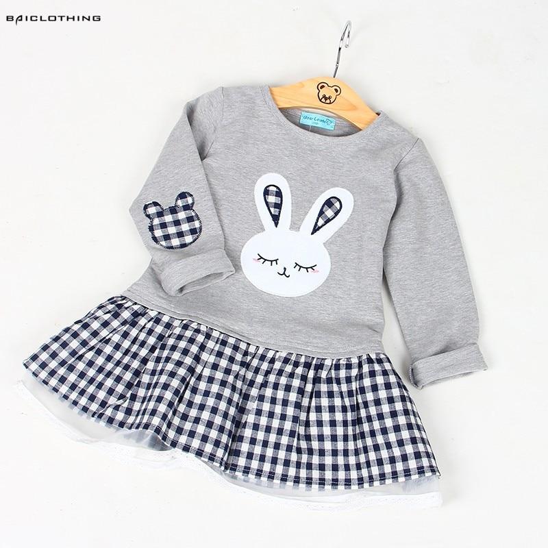Alta qualidade primavera roupas da menina do bebê vestido de bebê menina manga longa dos desenhos animados bordado coelho princesa vestido roupas 3 projetos