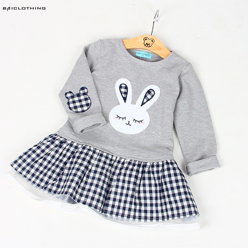 High Quality Spring Baby Girl Clothes Girl Baby Dress Long Sleeve Cartoon Embroiderie Bunny Princess Dress Clothes 3 Designs
