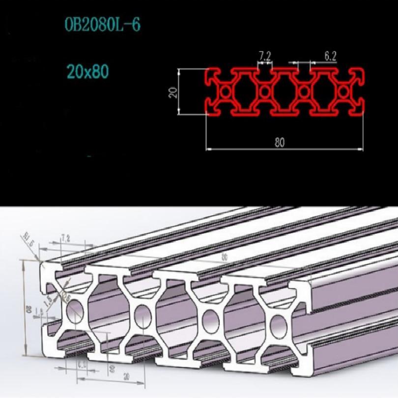 Купить с кэшбэком cnc profile T-slot 2080 t slot aluminum profile for cnc length 30CM 35CM 50CM wide 8CM thickness 2CM free shipping