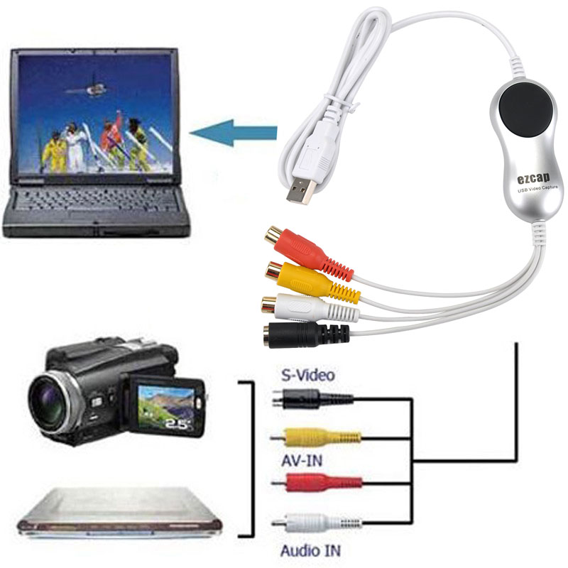 Original USB Video Grabber captura de vídeo analógico AV s-video V8 VHS Hi8 8mm videocámara tv stb edad cintas de vídeo para MAC OS y Win10 64