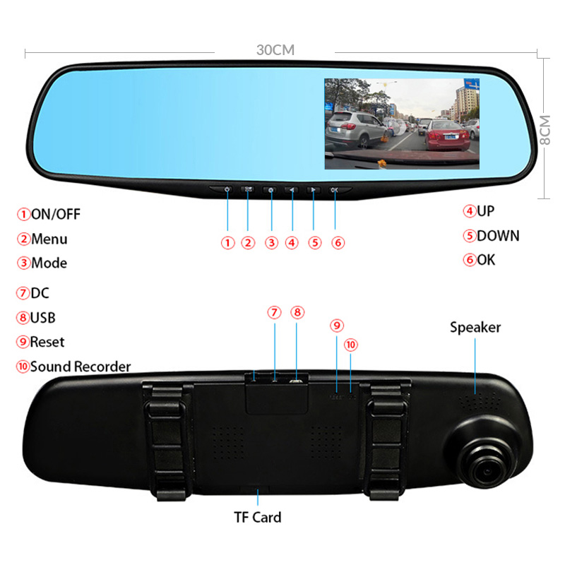 E-ACE Car Dvr FHD 1080P Dash Camera 4.3 дюймдік Rearview - Автомобиль электроникасы - фото 4