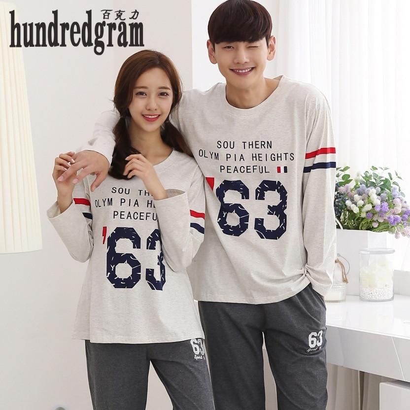 The new fashion autumn couple pajamas men and women simple cotton couple models female pajamas-dod167