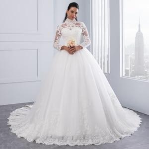 Image 2 - Miaoduo Vestido De Noiva 플러스 크기 높은 목 IIIusion 다시 긴 소매 웨딩 드레스 2020 공 가운 웨딩 드레스 여성을위한