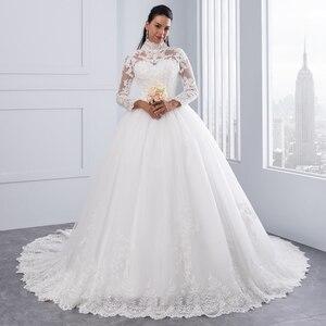 Image 2 - Miaoduo Vestido De Noiva Plus Size Hoge Hals Iiiusion Back Lange Mouwen Bruidsjurken 2020 Baljurk Trouwjurken Voor vrouwen