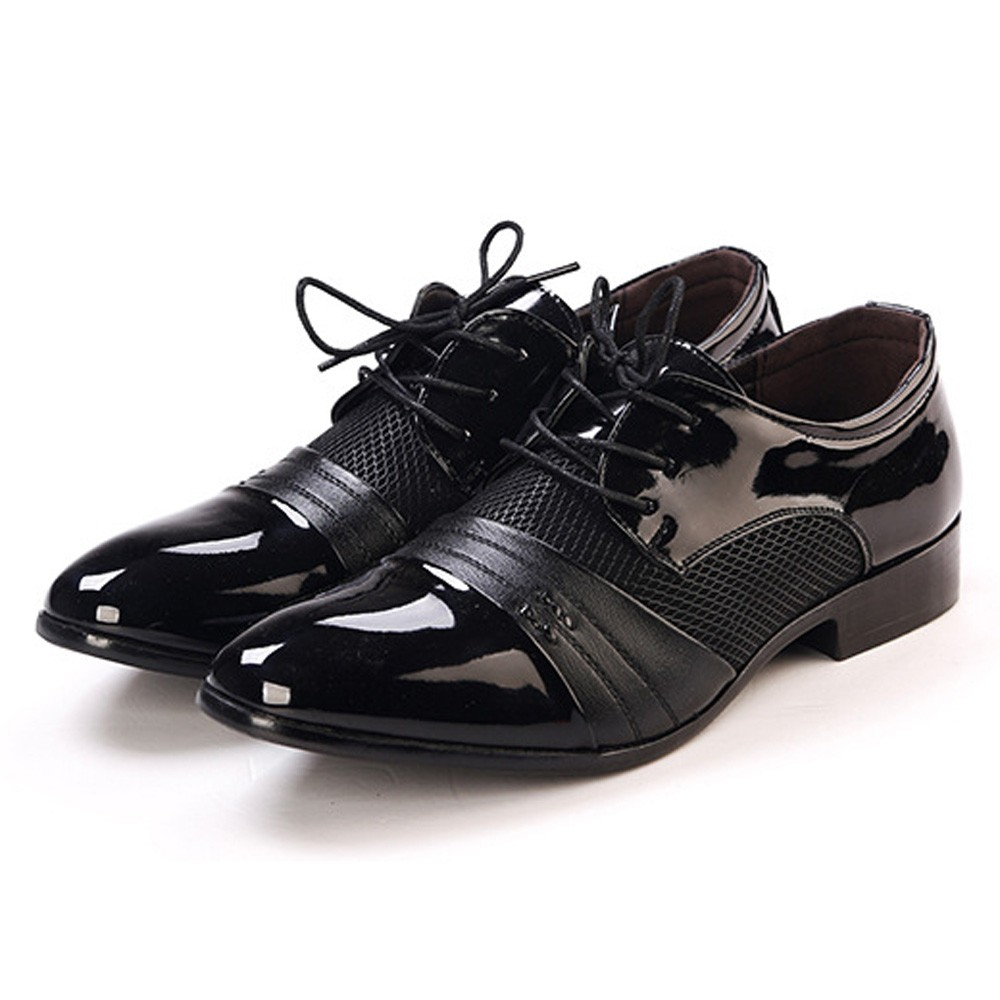 Men Formal Shoes Lace-Up Pointed Shoes Business Wedding Patent Leather Oxford Shoes For Men Dress Shoes Plus Size 47 2017 men s cow leather shoes patent leather dress office wedding party shoes basic style pointed toe lace up eu38 44 size