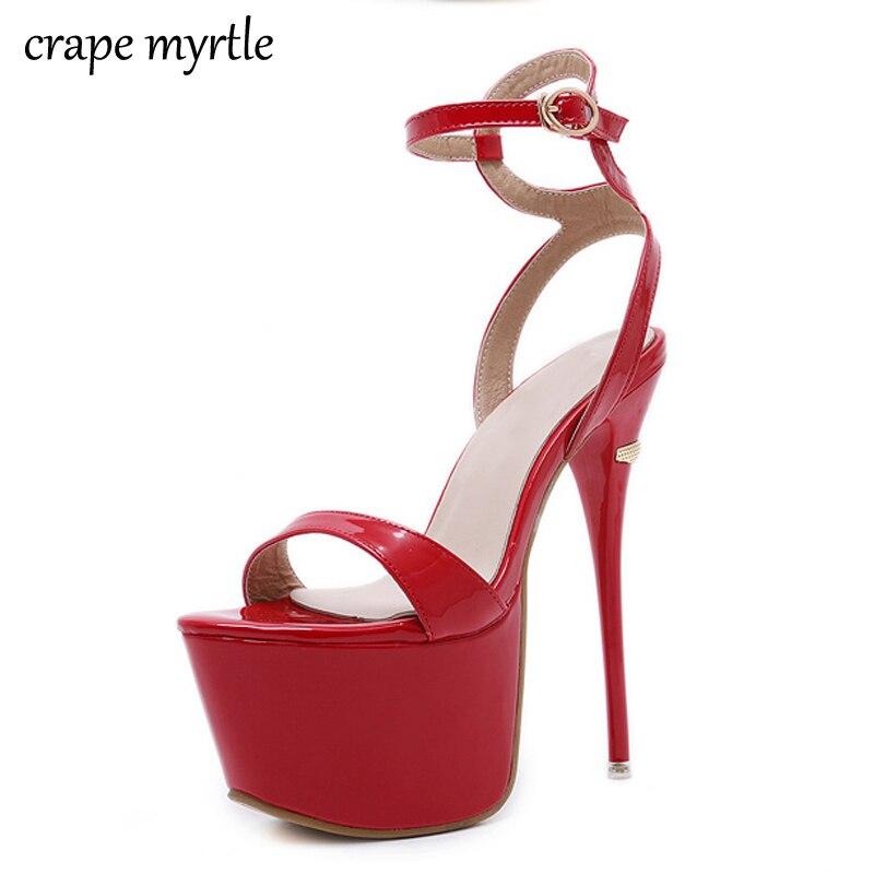 все цены на branded sandals Fashion Summer Women Thin High Heels Sandals 16cm Sexy Stripper Shoes Women Gladiator Platform Sandals YMA379