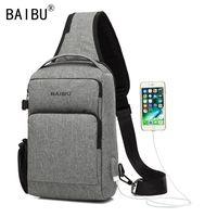 BAIBU USB Charging Crossbody Bags Men Antitheft Slant chest pack Messengers Bag Waterproof Mobile ipad Casual Shoulder Bag